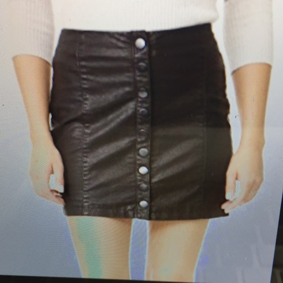 d206d2b60 Free People Dresses & Skirts - Free People Oh Snap Button Vegan Leather  skirt S4